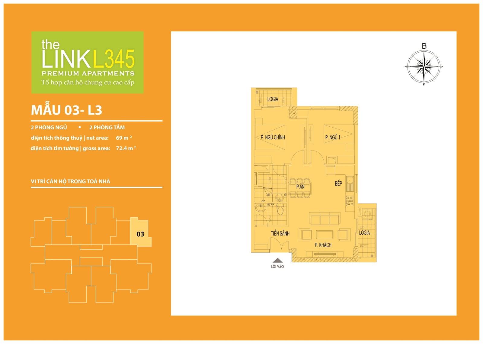 Mặt bằng chi tiết căn hộ 03 - L3 The Link