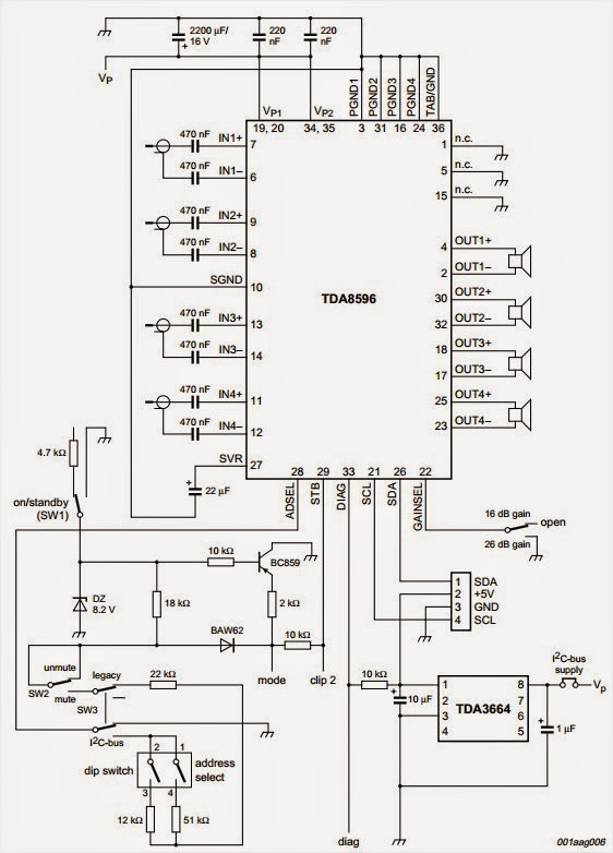 4x45W Stereo Power Amplifier Circuit Diagram TDA8596