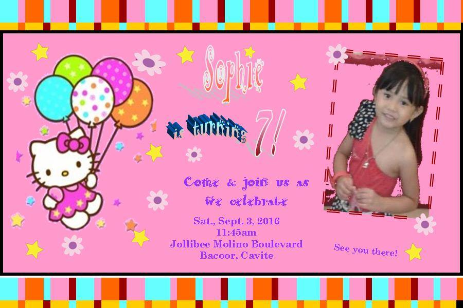 My 7th birthday party at jollibee molino boulevard sophies world that is even though the birthday package from jollibee already includes invitation cards actually the package comes with a party hosts party program stopboris Gallery