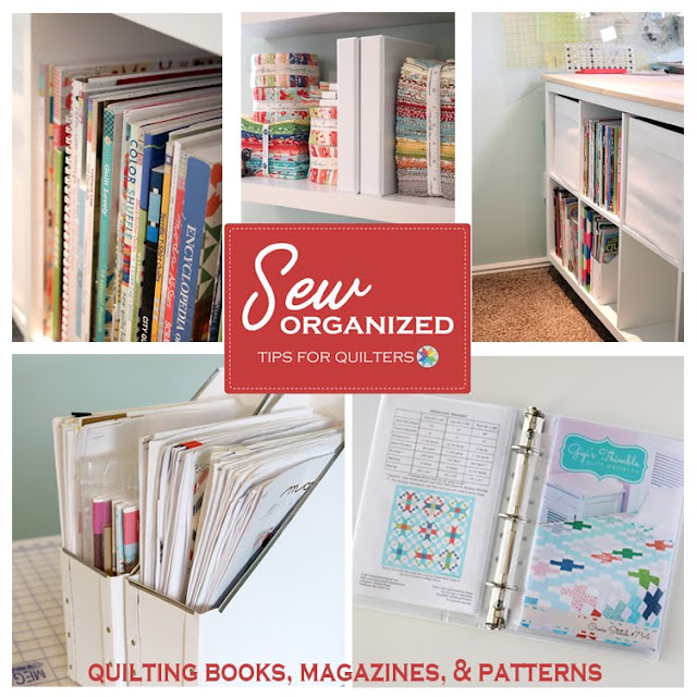 Sewing Room organization tips for storing quilt patterns and books from A Bright Corner