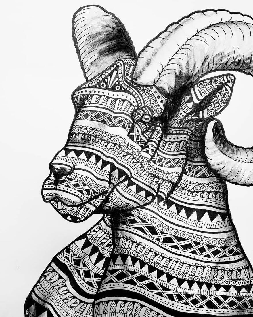 01-Ram-Savanna-Zentangle-Wild-Animal-Drawings-www-designstack-co