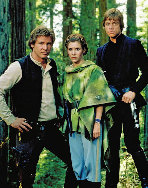 Han Solo, Princess Leia, Luke Skywalker on Endor