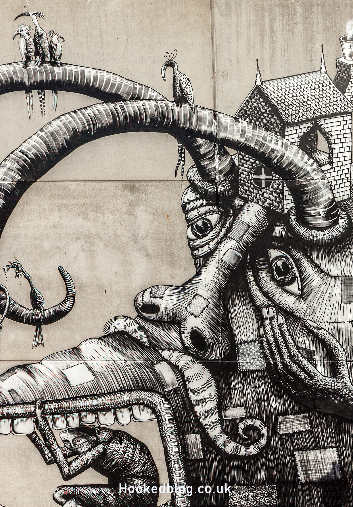 Detail of the Phlegm Mural in Ostend, Belgium