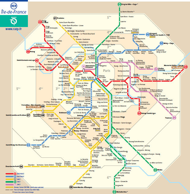 RER Paryż Paris kolej mapa kolejk rer map system komunikacji miejskiej w Paryżu koleje francja