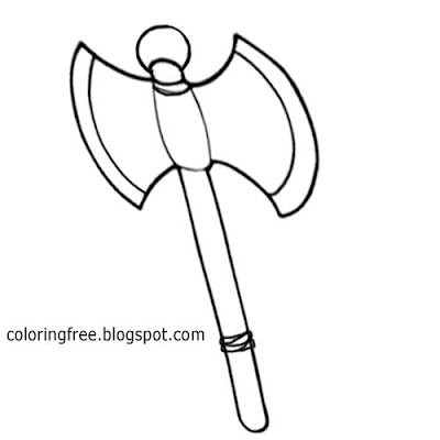 Strong Dark Ages weapon of war two head axe medieval clip artwork for teenagers to color and print
