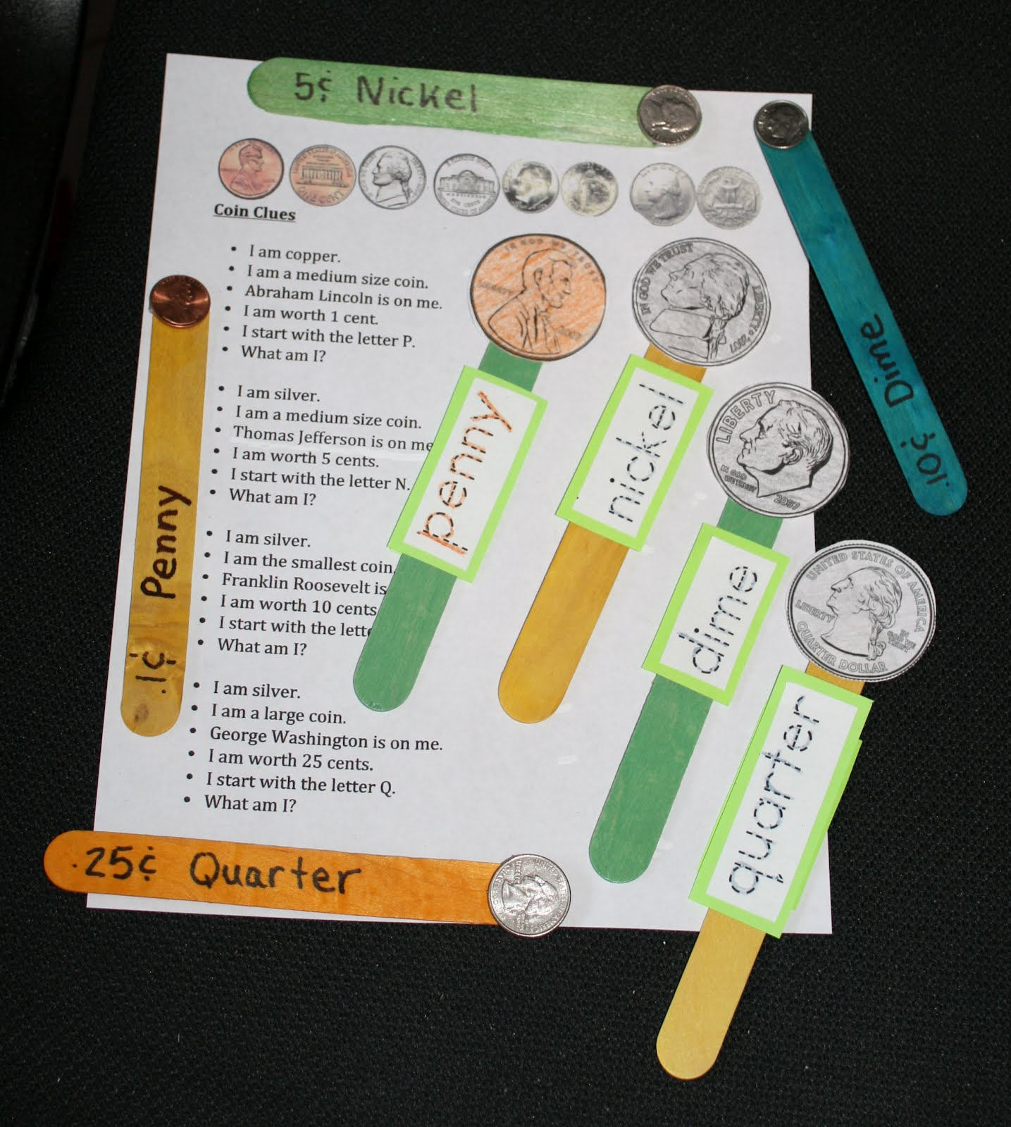 Classroom Freebies Too Pk 2 Coin Popsicle Stick Id Game