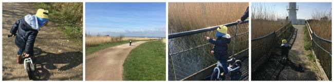 Our-weekly-journal-10-April-collage-of-toddler-on-balance-bike-at-Newport-Wetlands-