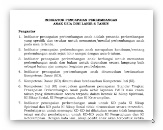 Indikator Perkembangan Anak Usia 0-6 Tahun Kurikulum 2013