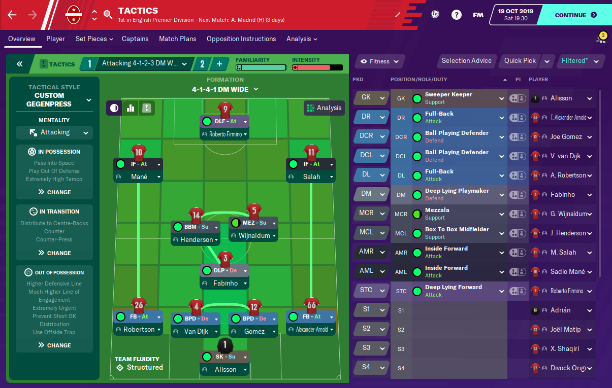FM20 - Jurgen Klopp's 4-3-3 Liverpool Gegenpress Tactic Formation