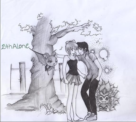 Hình vẽ cặp đôi hoạt hình dễ thương bằng bút chì kute