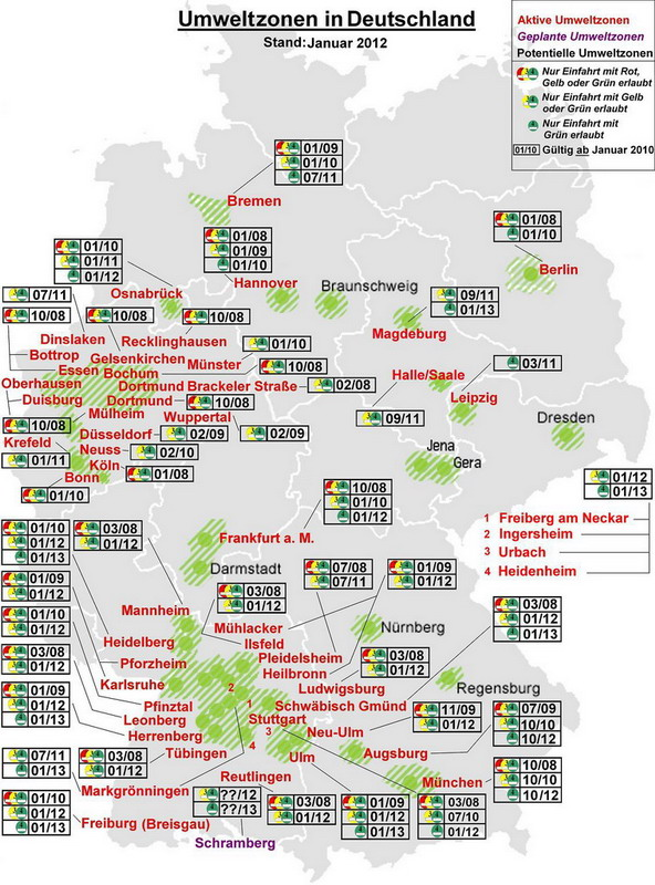 Umweltzone Leipzig Karte.Landkartenblog Routenplaner Test 3 Umweltzonen In Deutschland