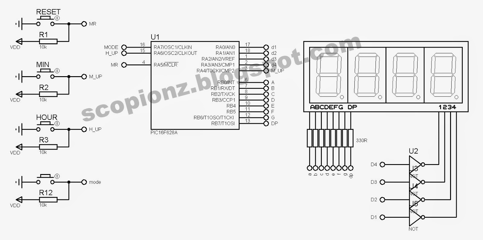 Seven Segment Simple Digital Clock Circuit 16F628 Scorpionz