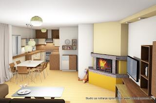 Dnevna soba in pogled na kuhinjo in jedilnico.