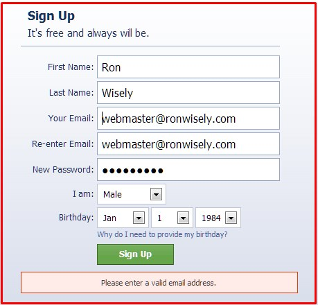 facebook sign up problems email