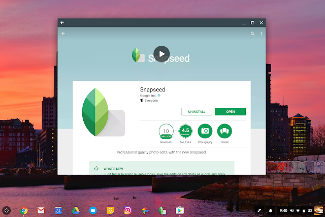 Snapseed Android App install on a Chromebook