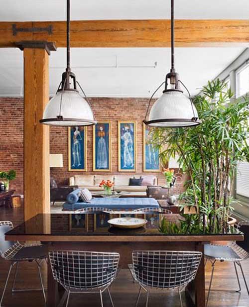 Iluminação sala jantar rústica