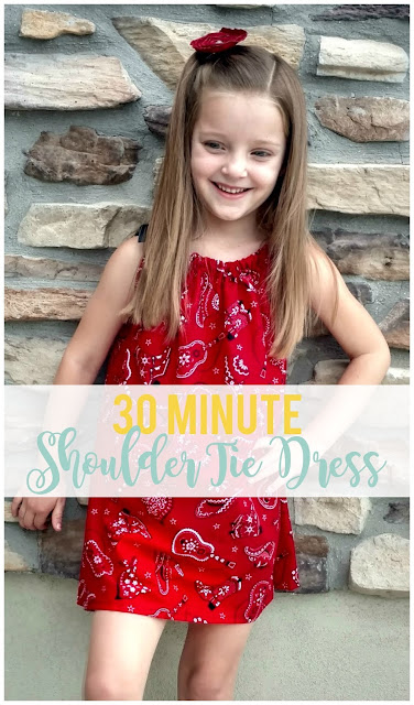 Only 1/2 yard of fabric and some ribbon make this cute shoulder tie dress a summertime staple! You can whip this out in about 30 minutes.