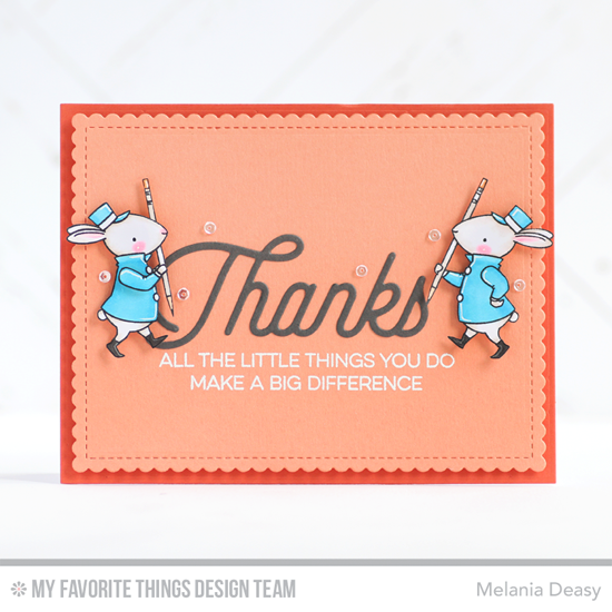 Big Difference Card Melania Deasy featuring the Kind Thanks, Get Down to Business, and Birdie Brown Strike up the Band stamp sets, and the Twice the Thanks and Blueprints 27 Die-namics #mftstamps