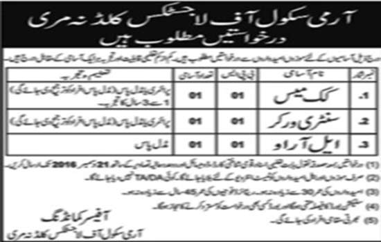 Jobs in Army School Of Logistics Kuldana Murree