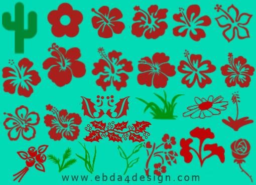 تحميل فرش زهور متنوعه للفوتوشوب مجاناً, Photoshop Brushs free Download, Flowers Photoshop Brushs free Download