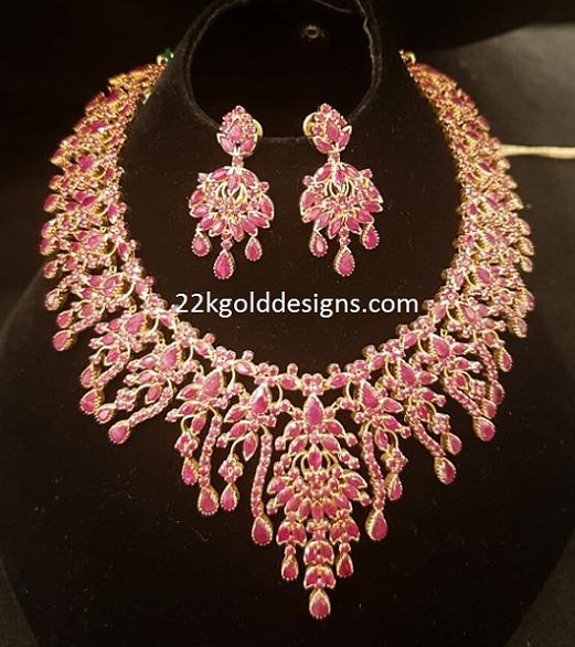 Ruby Stones Gold Necklace in 87 Grams