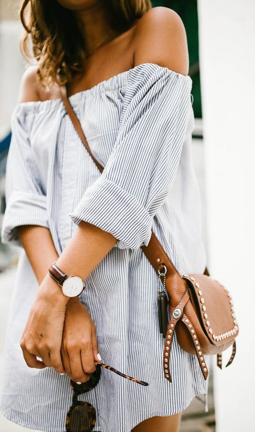 trendy summer outfit / stripped shirt dress and brown bag