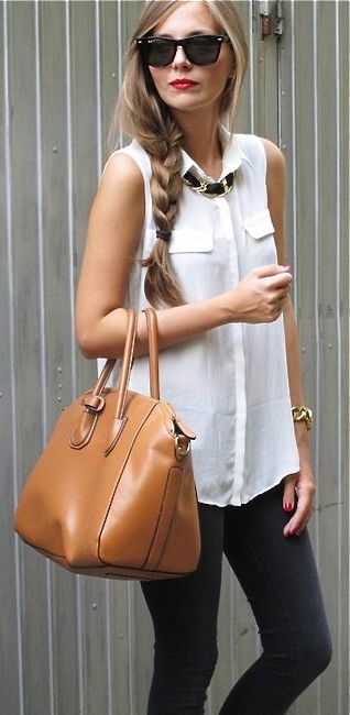 cute office style outfit: white shirt + pants + bag