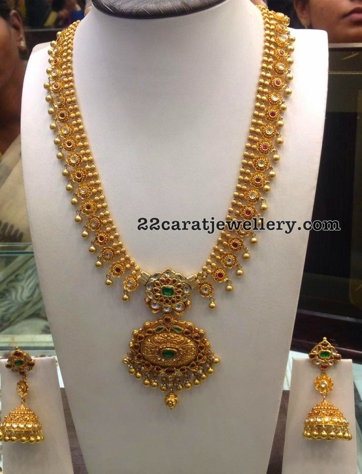 Light Weight Gold Long Set with Balls - Jewellery Designs