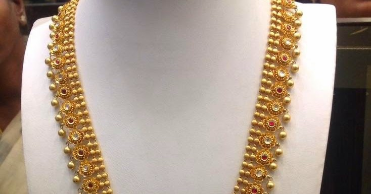 light weight gold long set with balls jewellery designs