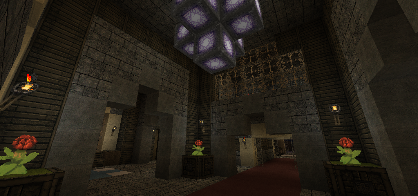 Walking Into The Front Of House You Will Find An Awesome Looking Chandelier Made Out Glowstone In And Both Sides Are Walkways