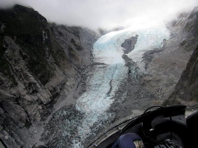 El Glaciar Franz Josef visto desde un helicóptero