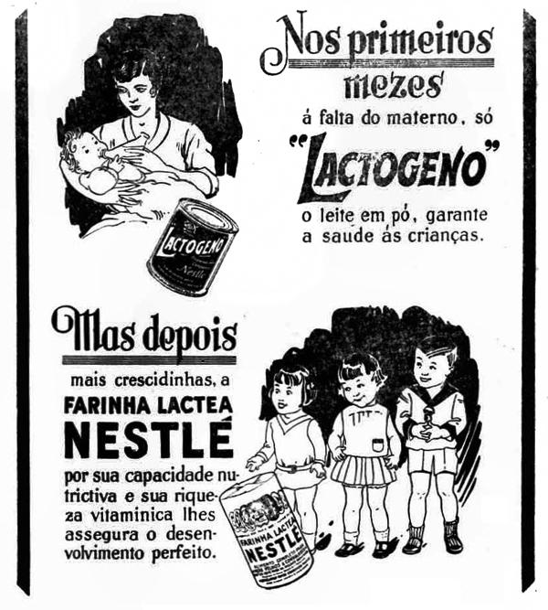 Propaganda antiga do Lactogeno e da Farinha Láctea da Nestlé em 1931