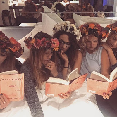 Troian Bellisario bachelorette party wearing flower crowns & reading Sweetbitter by Stephanie Danler with BFF Lulu Brud Zsebe