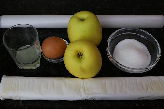 Ingredientes para hojaldres rellenos de mermelada casera de manzana