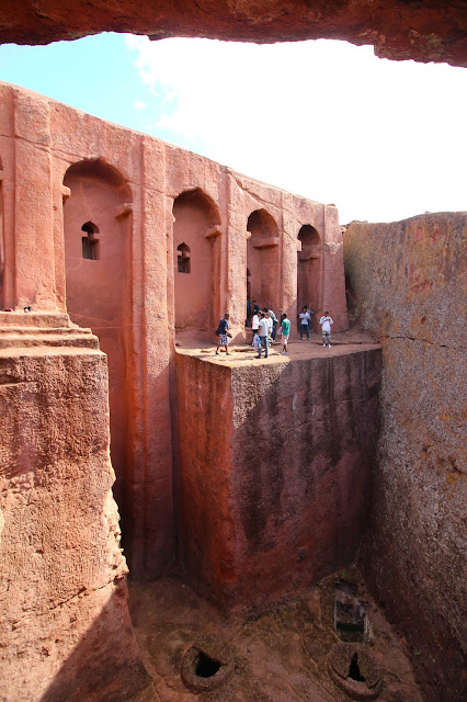 church in lalibela with a steep drop