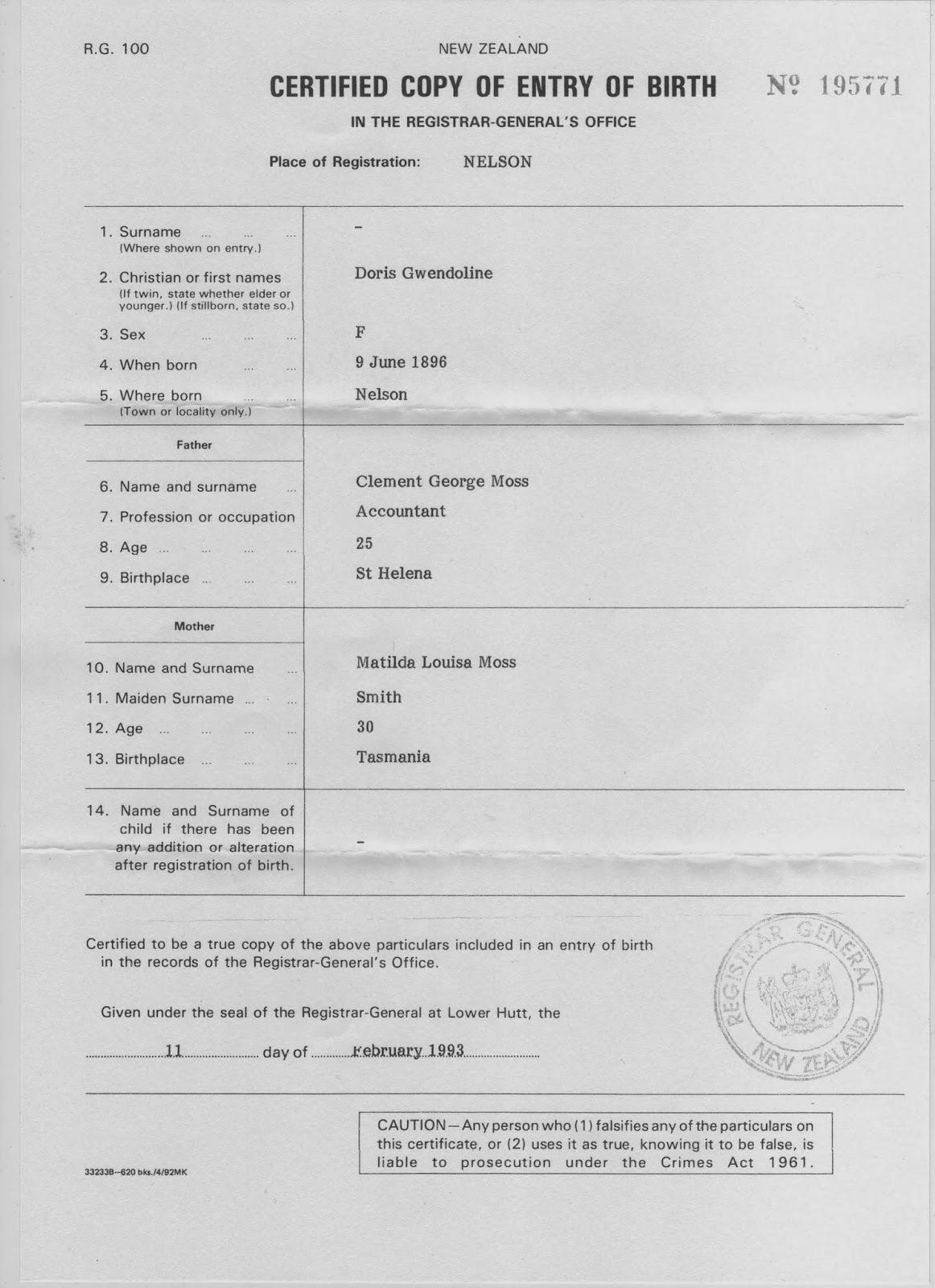 Olney family archives arthur e doris g moss olney birth certificate of doris gwendolyne moss 9 june 1896 aiddatafo Gallery