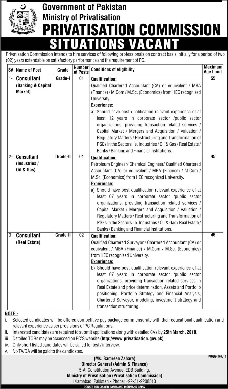 New Jobs In Ministry Of Privatisation Govt of Pakistan 2019