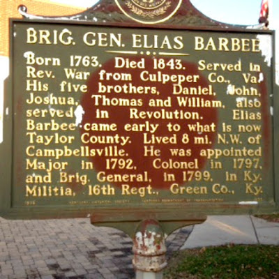 Brig. Gen. Elias Barbee Historical Marker in Kentucky