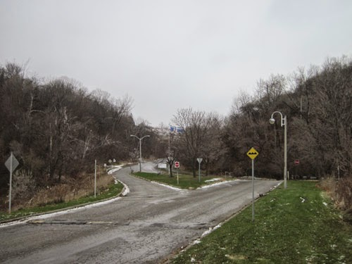 Looking up Brimley Road from Scarborough Bluffs (November)
