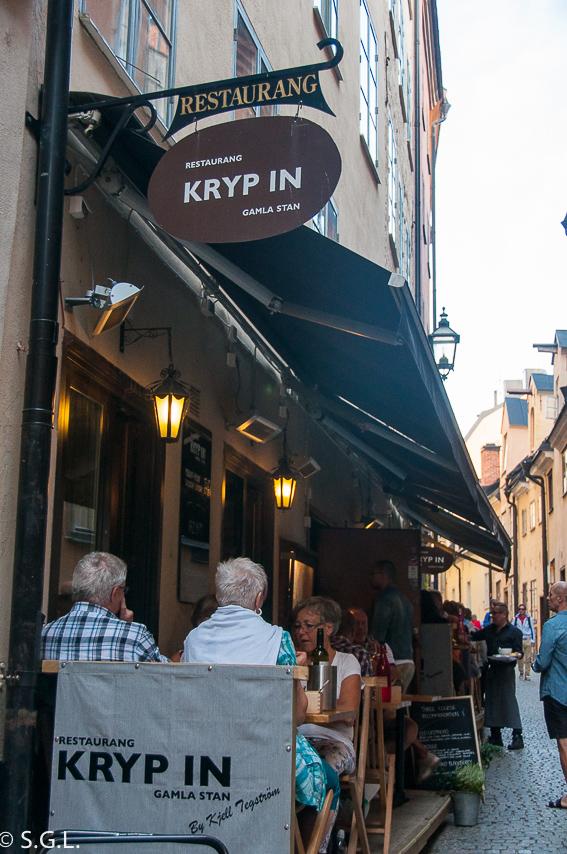 Restaurante Kryp In y su terraza en Estocolmo