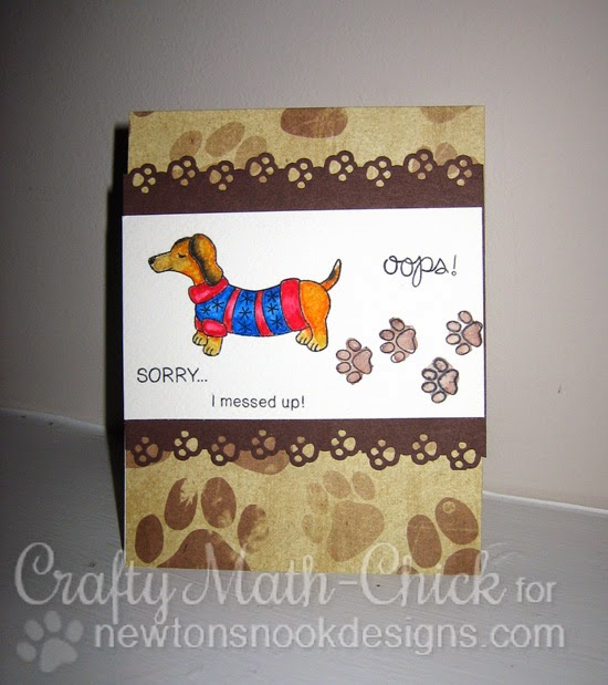Ooops Doxie muddy paw prints watercolor card by Crafty Math Chick | Holiday Hounds and Naughty Newton from Newton's Nook Designs