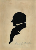 A silhouette cut-out of Daniel Webster in profile facing left.