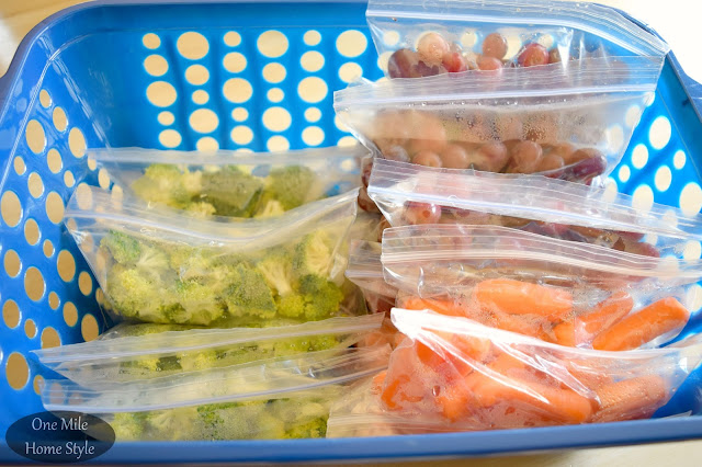 Prep snack size fruits and veggies for easy lunch packing