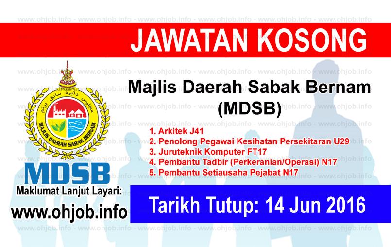 Jawatan Kerja Kosong Majlis Daerah Sabak Bernam (MDSB) logo www.ohjob.info jun 2016