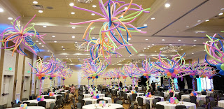 Neon themed balloon centerpieces and ceiling balloon decoration ideas