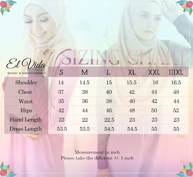carta ukur jubah dress Elvida