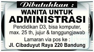 Lowongan Kerja Administrasi Bandung