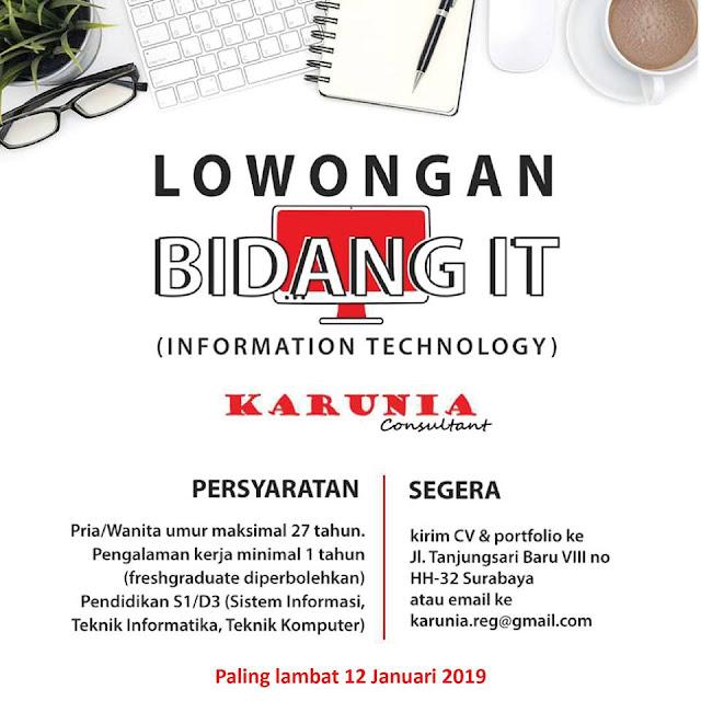 lowongan kerja IT karunia consultant Surabaya
