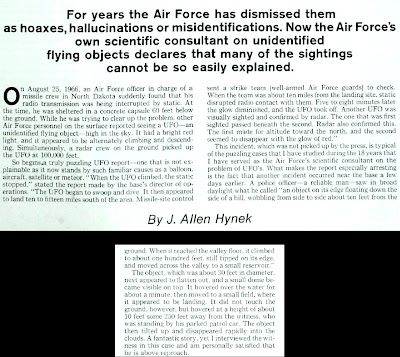 J. Allen Hynek Reports On a UFO Landing Near Nuclear Missile Site; An Air Force 'Strike Team' was Ordered To Intercept - The Saturday Evening Post 12-17-1966