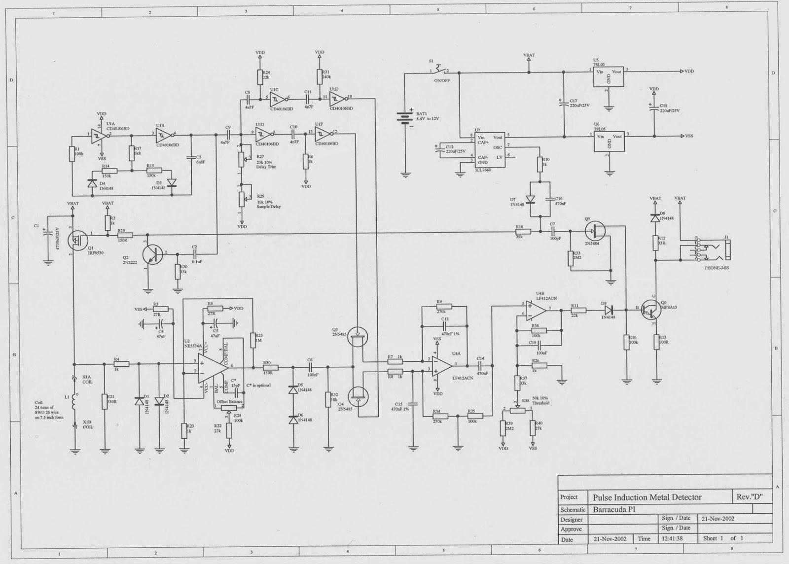 pulse induction metal detector circuit